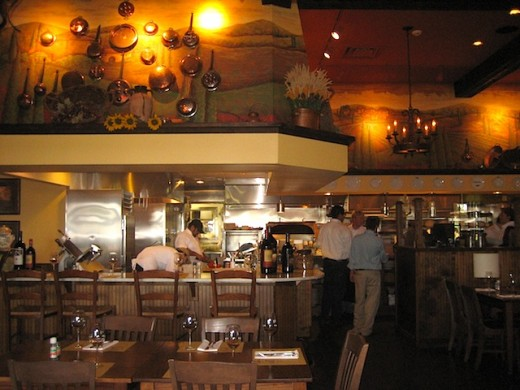open kitchen at Trattoria Lisina