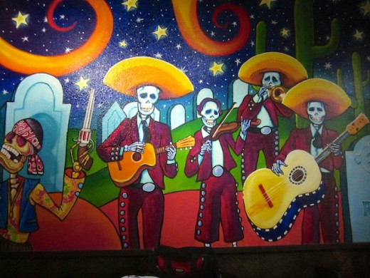 Jugo cantina fresca way out west austin way out west for Day of the dead mural