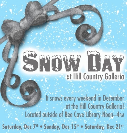snow day at the Hill Country Galleria in Bee Cave, Texas