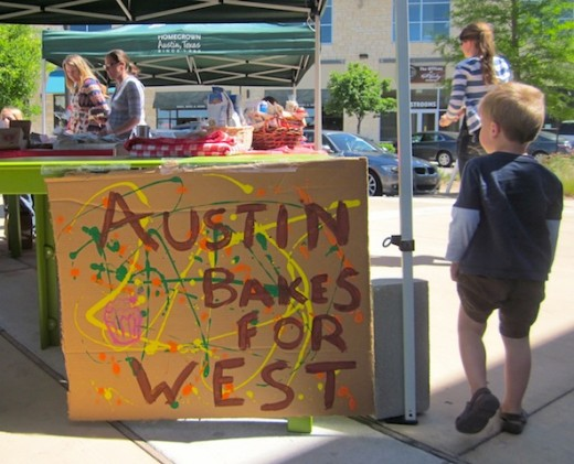 Austin Bakes for West sign