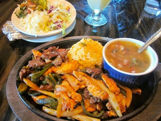 chicken and beef fajitas at the new Los Pinos restaurant in Bee Cave, Texas