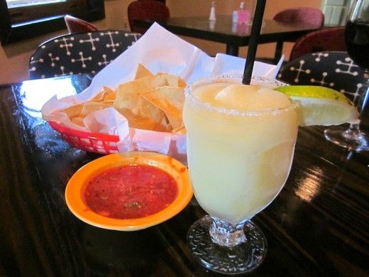 frozen margarita at the new Los Pinos restaurant in Bee Cave, Texas