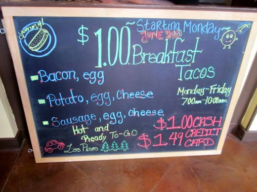 breakfast taco sign at the new Los Pinos restaurant in Bee Cave, Texas