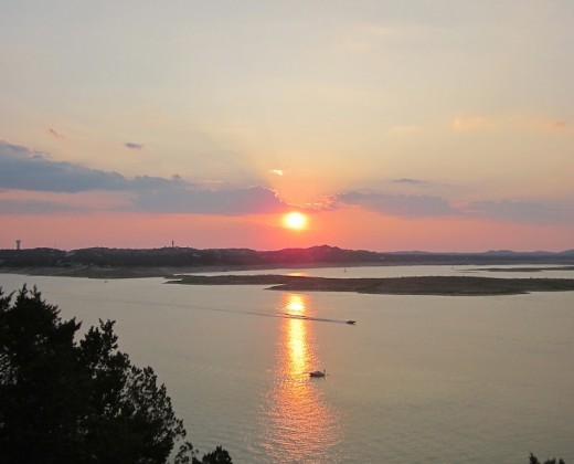 sunset over Lake Travis, texas