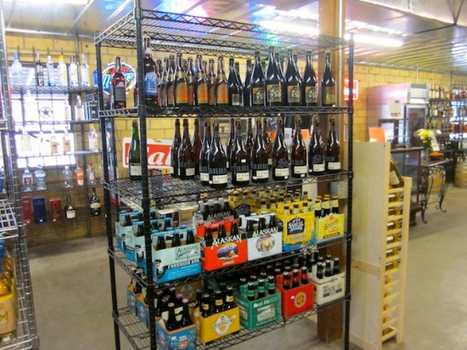 beer and wine at the Hye Market in Hye, Texas