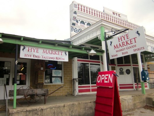 the front of the Hye Market in Hye, Texas