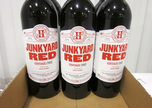 the Texas-made Junkyard Red at the new Hye Meadow Winery in Hye, Texas