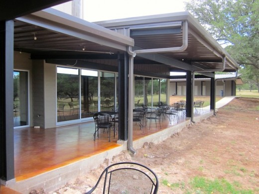 patio of the new tasting room at Hye Meadow Winery in Hye, Texas