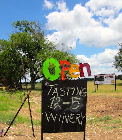 open sign at the new Hye Meadow winery in Hye, Texas