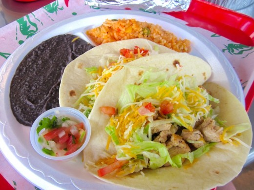 chicken-fajita tacos at the new Taco Shack on 620 north in Austin, Texas