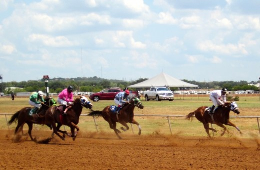 horse racing at the Gillespie county fair in Fredericksburg, texas