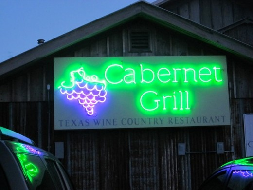 Neon sign at the Cabernet Grill in Fredericksburg, texas
