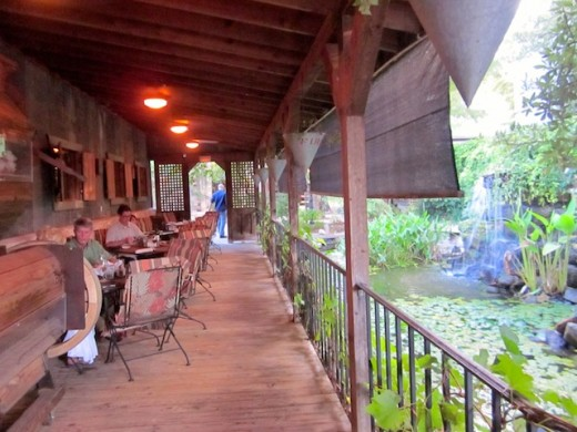 porch at the Cabernet Grill in Fredericksburg, texas