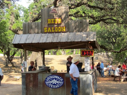 One of the outdoor bars in Luckenbach, Texas