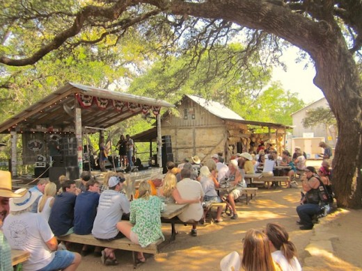 The crowd watching  Blacktop Gypsy play in Luckenbach, Texas