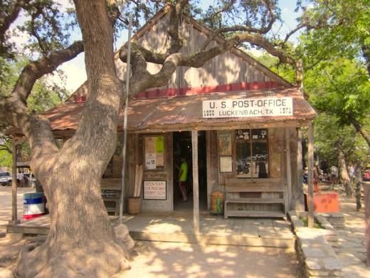 The front of the old post office in Luckenbach, texas