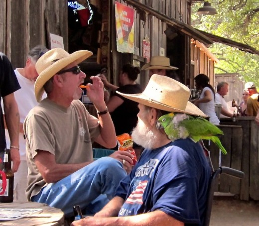 A man with a parrot on his shoulder in Luckenbach, Texas
