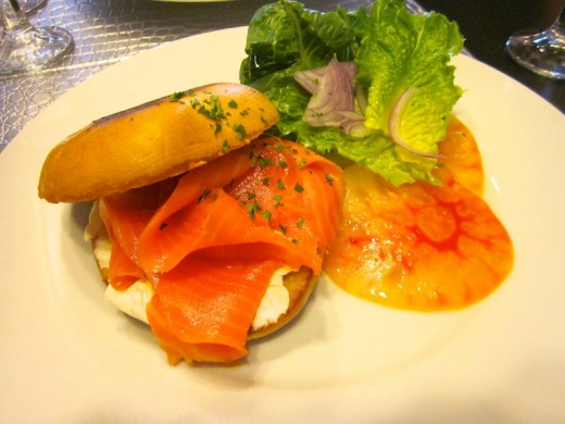 bagel with smoked salmon at the new brunch at Plate by Dzintra in Bee Cave, Texas