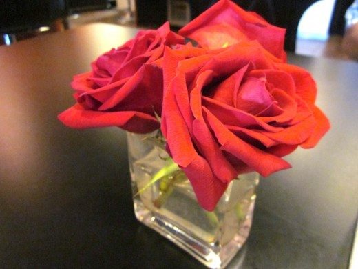 roses on the table for the new brunch at Plate by Dzintra in Bee Cave, Texas