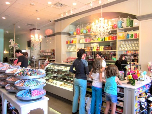 A candy-filled counter at the new Galleria store, The Candy Jar, in Bee Cave, Texas