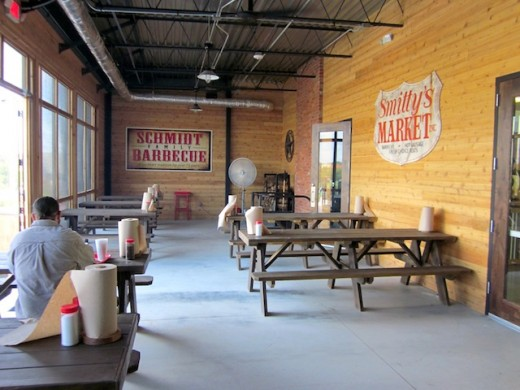 Screened-in porch at the new Schmidt Family Barbecue in Bee Cave, Texas