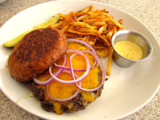 The Tatonka bison burger at the new Black Walnut Cafe at River Place near Austin, Texas