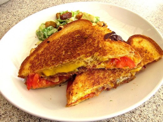 grilled cheese with bacon and tomato at the new Black Walnut Cafe at River Place near Austin, Texas