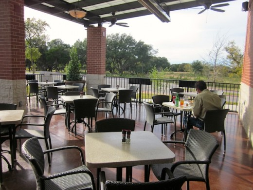 patio at the new Black Walnut Cafe at River Place near Austin, Texas