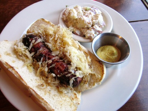 bratwurst sandwich at the new East Main Grill in Johnson City, Texas