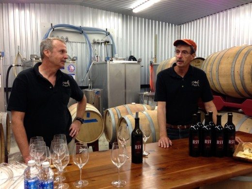 Co-owner brothers Doug and Tom at their new Hawk's Shadow winery near Dripping Springs, Texas