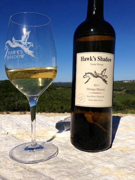 Orange moscat at the new Hawk's Shadow winery near Dripping Springs, Texas