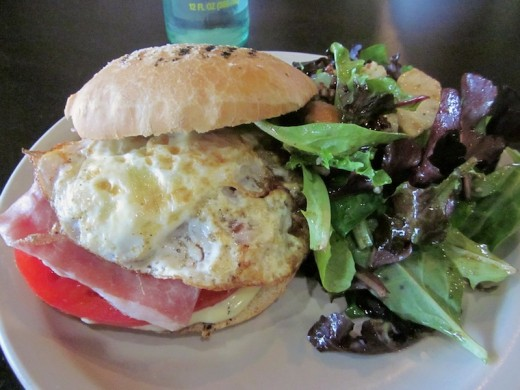 prosciutto-provolone sandwich with fried egg at the new Java Dive near Lakeway Texas