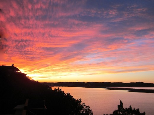 sunset over lake travis near Austin, texas