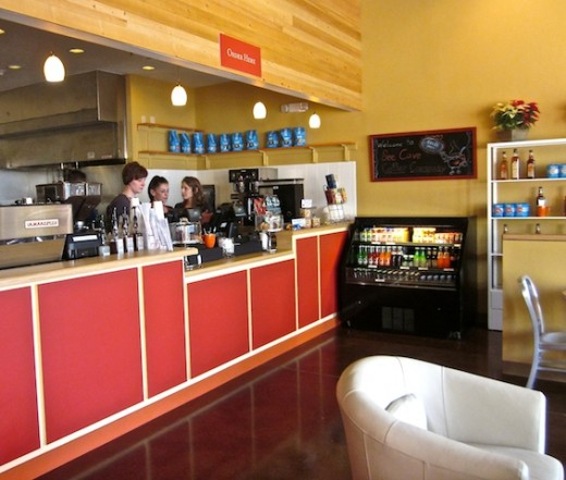 Order counter at the new Bee Cave Coffee Company in the Hill Country Galleria in Bee Cave, Texas