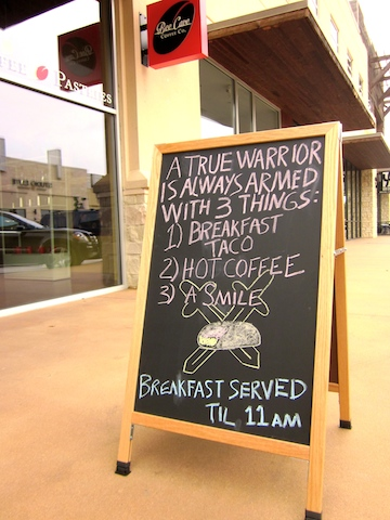 sign at the new Bee Cave Coffee Company in the Hill Country Galleria in Bee Cave, Texas