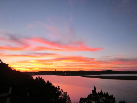 sunset over lake travis near austin texas