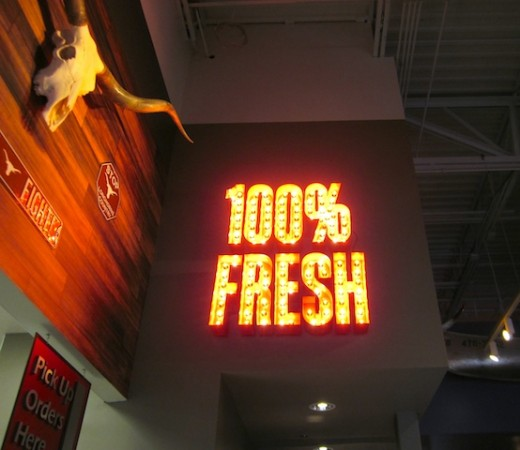 100% fresh sign at the new Fuddruckers in Bee Cave, Texas