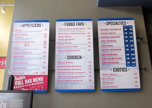 Menu at the new Fuddrucker's in Bee Cave, Texas