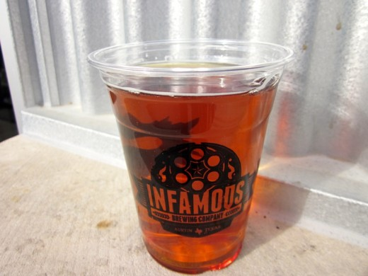Bugsy's Fire Brush Amber Ale from Infamous Brewing near Lake Travis, TX