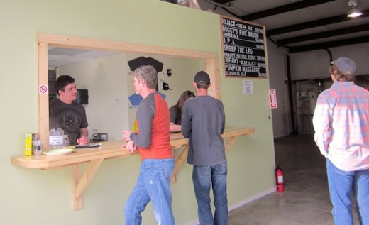 Bar in the new tasting room at Infamous Brewing near Lake Travis, Texas