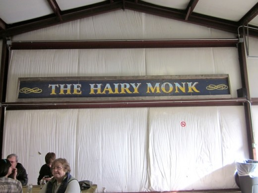 The Hairy Monk sign in the new tasting room at Infamous Brewing near Lake Travis, Texas