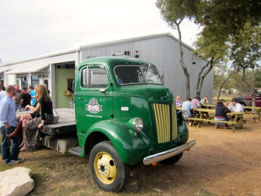Funky truck outside the new tasting room at Infamous Brewing near Lake Travis, texas