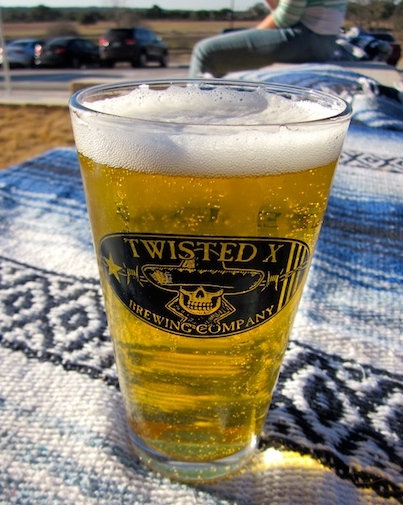 Pint in the new tasting room of Twisted X Brewing Company near Dripping Springs, Texas