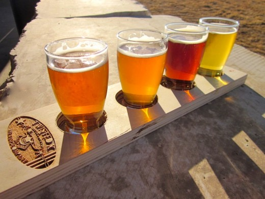 flight of beers at the new Twisted X Brewing Company in Dripping Springs, Texas
