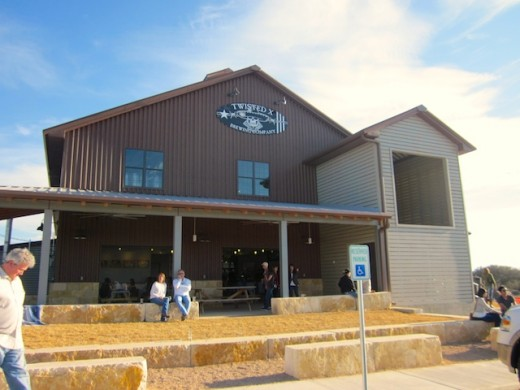 The front of the new Twisted X Brewing Company in Dripping Springs, Texas