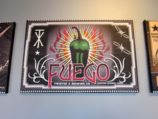 Fuego logo in the new tasting room of Twisted X Brewing Company, Dripping Springs, Texas