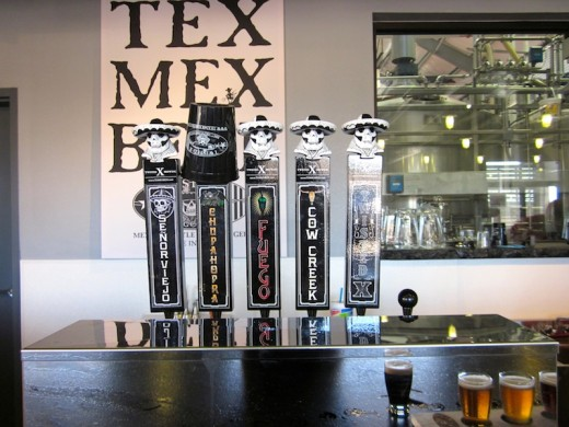 Beers on tap at the new Twisted X Brewing Company in Dripping Springs, Texas