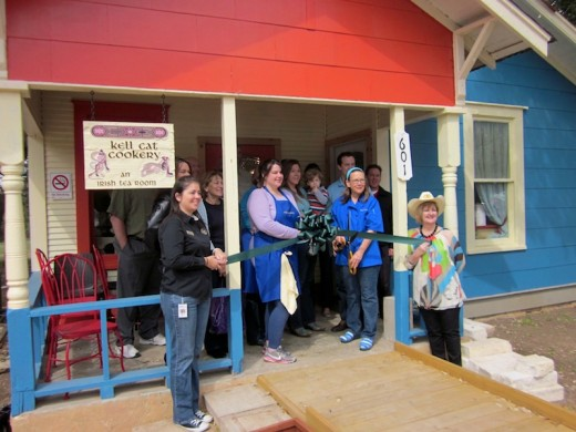 ribbon cutting for Kell Cat Cookery, new Irish cafe in Dripping Springs, Texas
