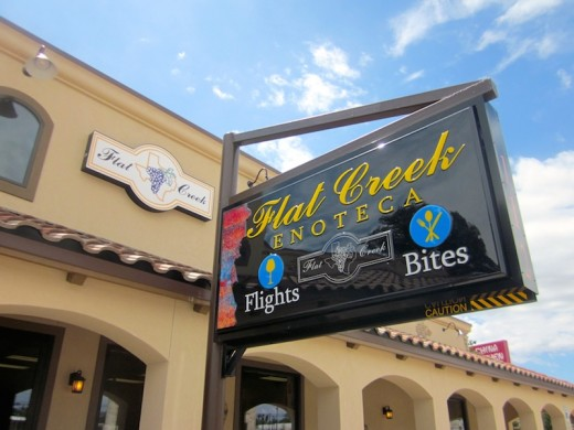 sign for the new Fall Creek Enoteca in Marble Falls