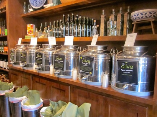 olive oils and vinegars at the new We Olive wine bar at the Hill country Galleria in Bee Cave, Texas